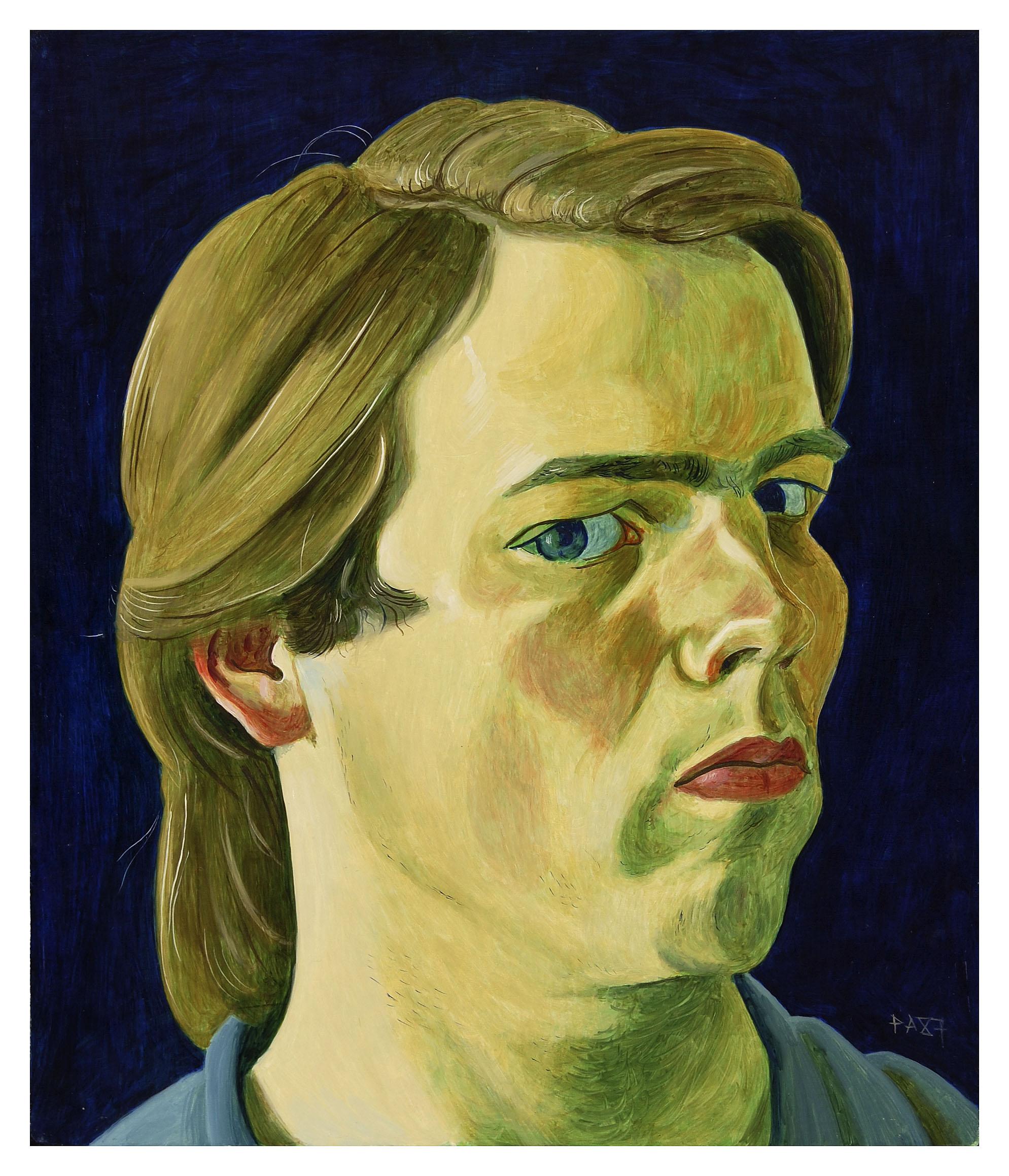Zelfportret, trois-quart met scheiding rechts