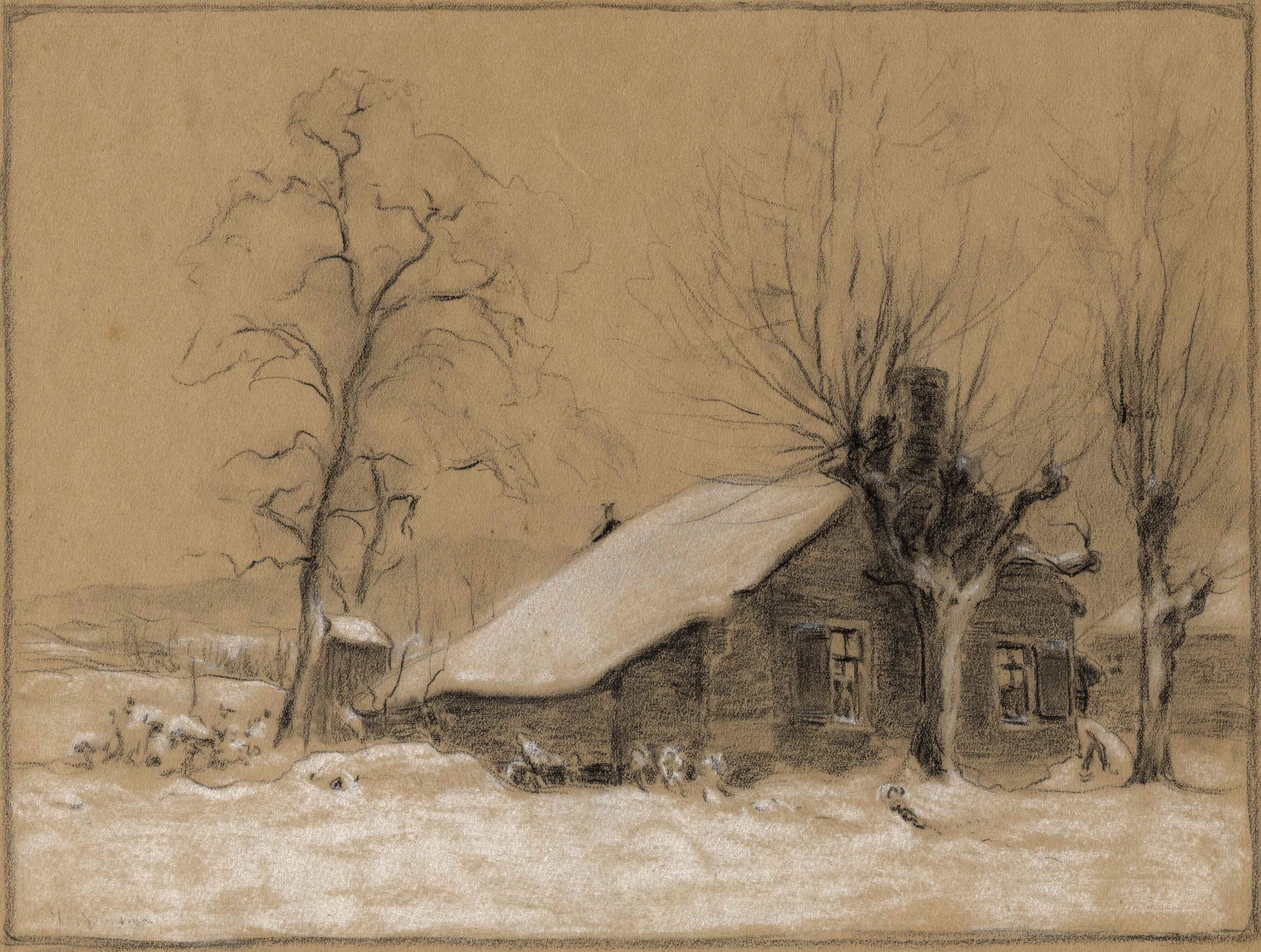 Tekening met het oude huisje van Jan van Houten in de Folgeren