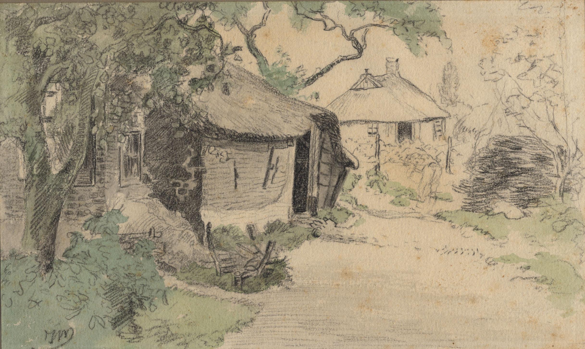 Tekening met achterzijde van een oud huisje aan de Folgeren