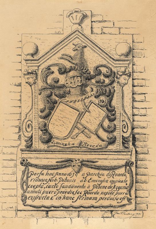 """Tekening van de gevelsteen in het huis de """"Paapsche Leer"""" aan de Ureterpervaart"""