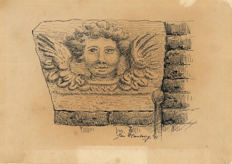 """Tekening van een engelenkopje op de gevelhoeken van het huis de """"Paapsche Leer"""" aan de Ureterpervaart"""