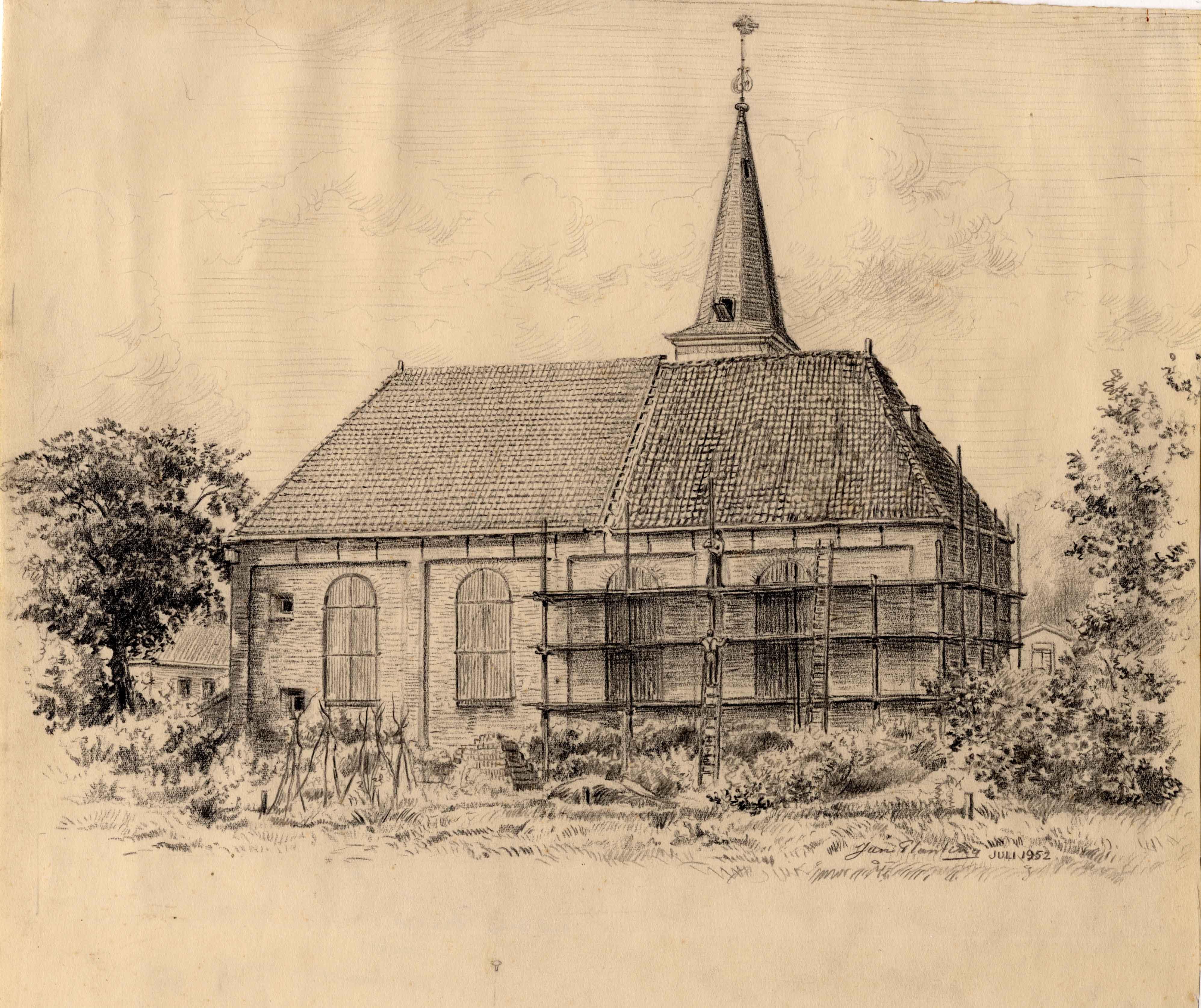 Tekening met de achterzijde van de Grote Kerk aan de Zuidkade te Drachten