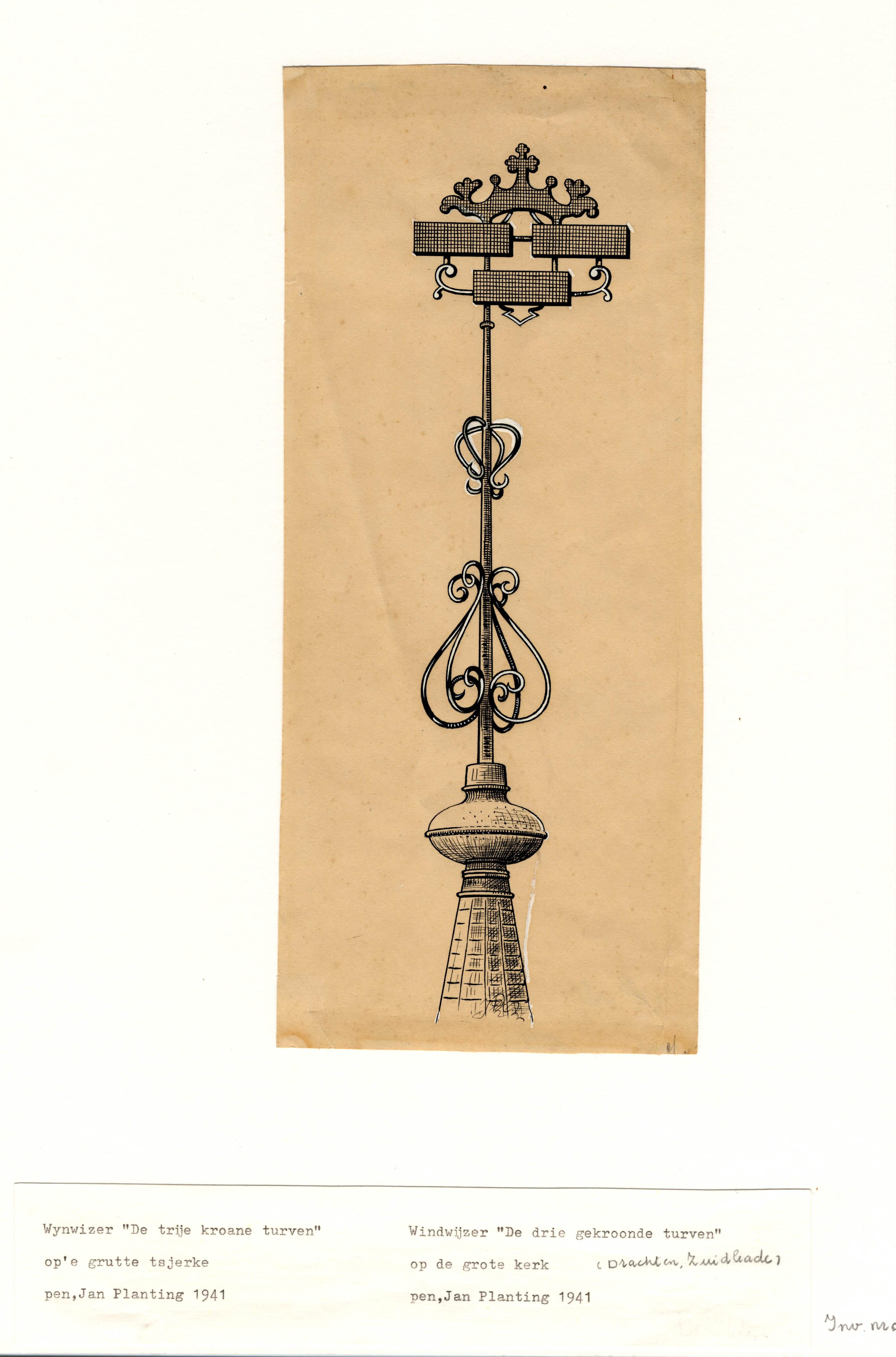 Tekening met windwijzer van de Grote Kerk aan de Zuidkade