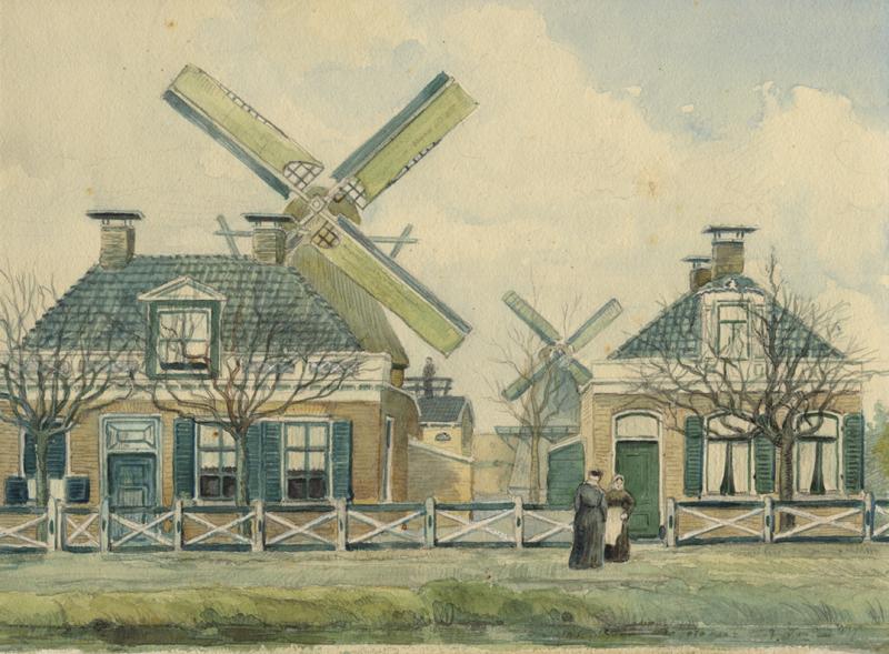 Aquarel van de molens aan het Oosteinde te Drachten