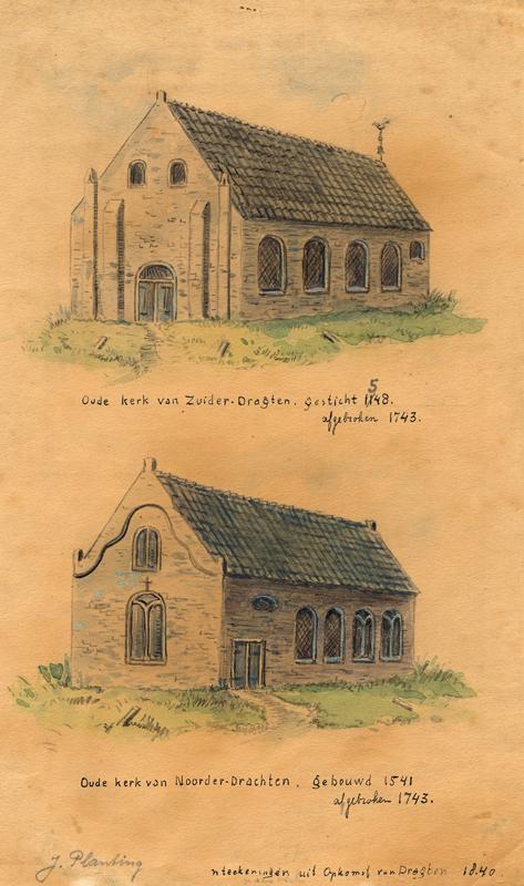 Aquarel van de oude kerk van Zuider-Dragten en de oude kerk van Noorder-Dragten