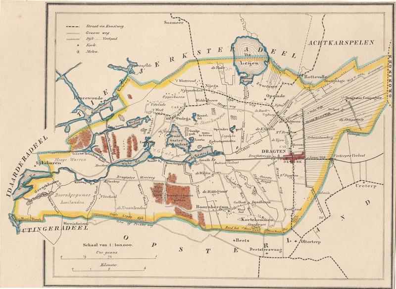Kaart van Smallingerland uit 1863