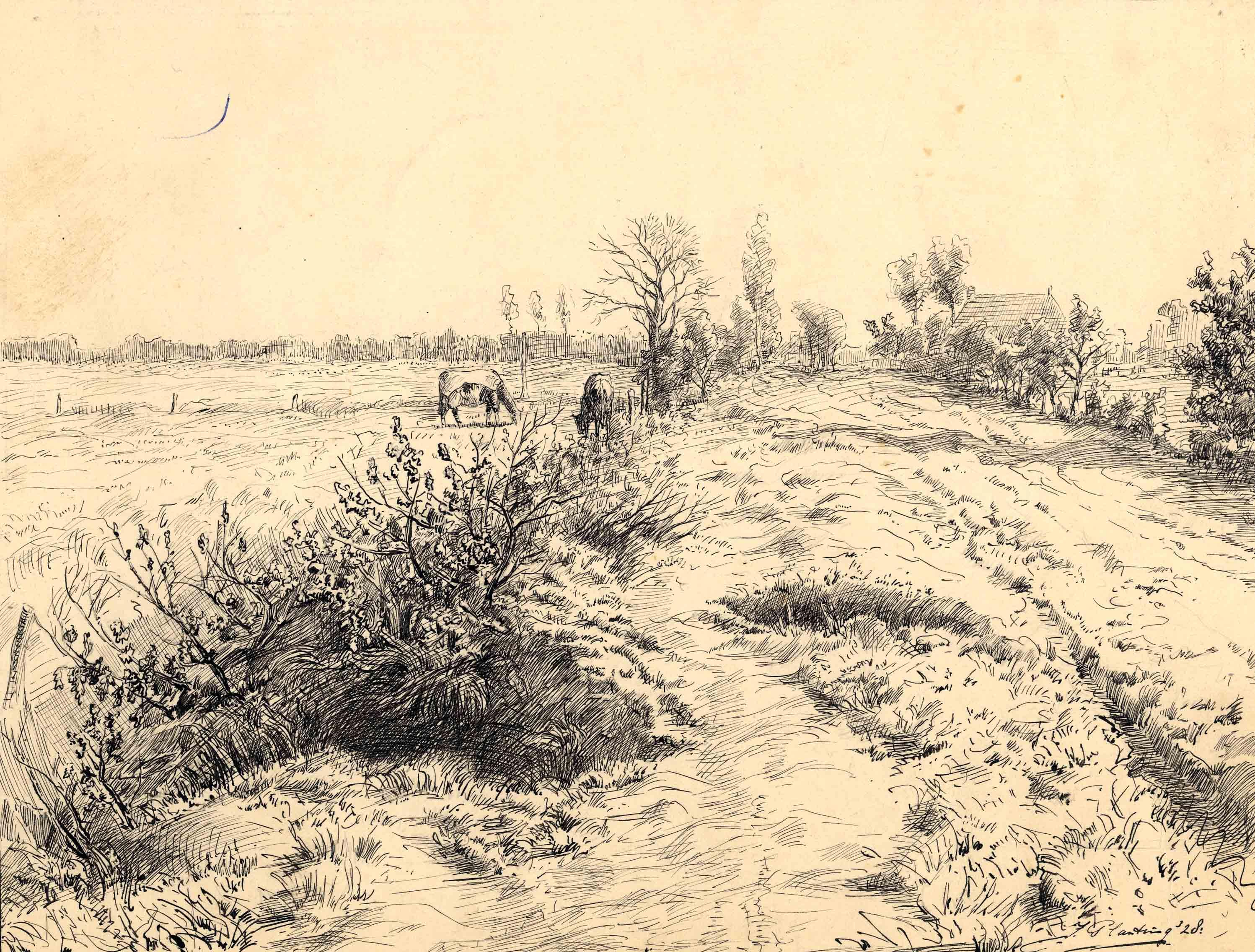 """Tekening met als titel """"Noorder Hoogeweg"""""""