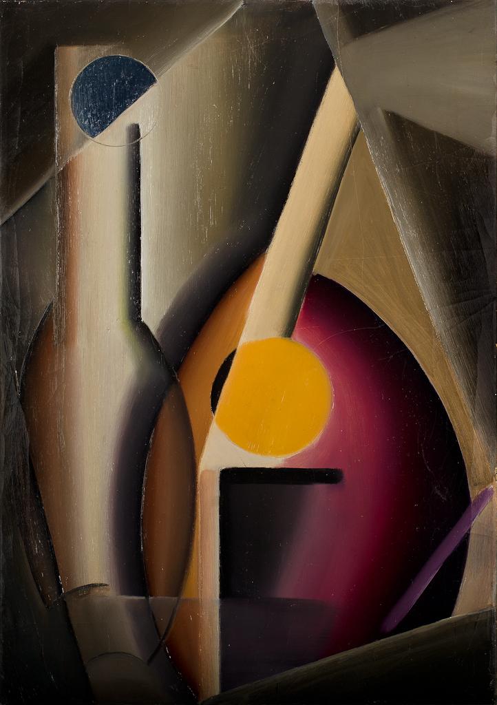 Compositie van voorwerpen, met een gestileerde vaas