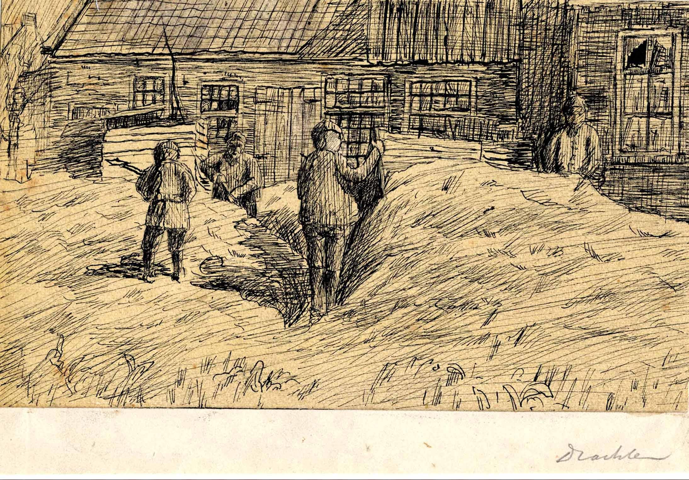 Tekening van huizen bij de Keuningsbuurt te Dragten