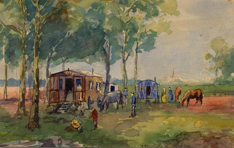 Aquarel van een woonwagenkamp bij Het Zuid te Drachten