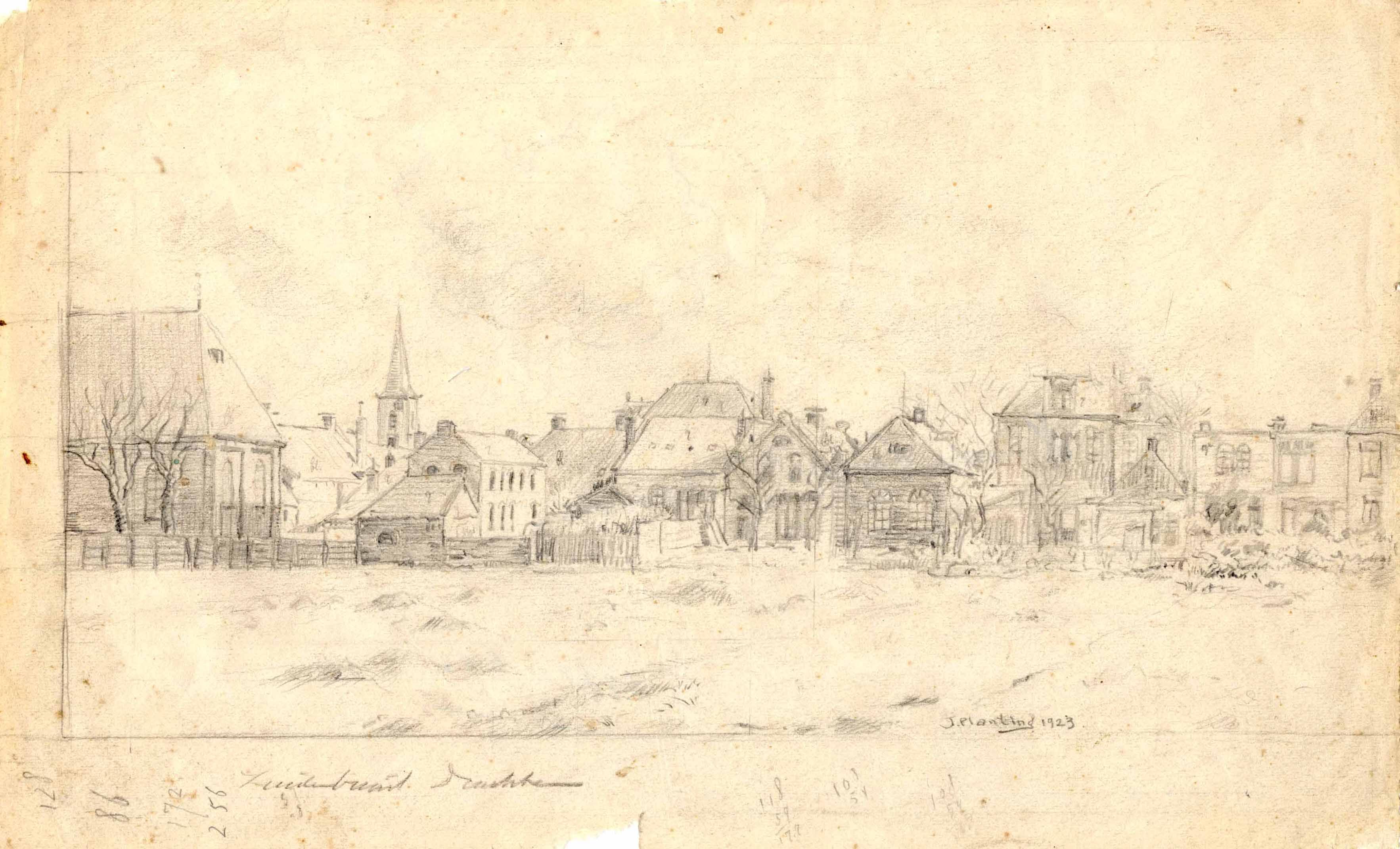 Tekening met achterzijde van de Zuiderbuurt