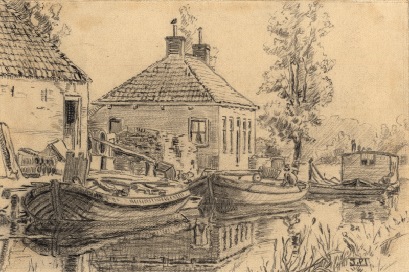 Tekening van de kalkoven aan de Langewijk te Drachten