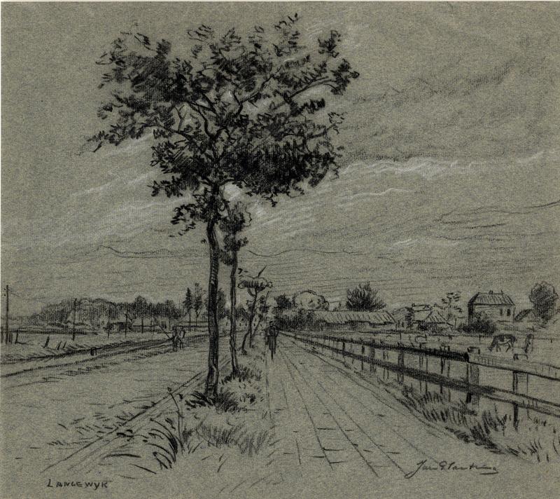 Tekening van de Langewijk te Drachten