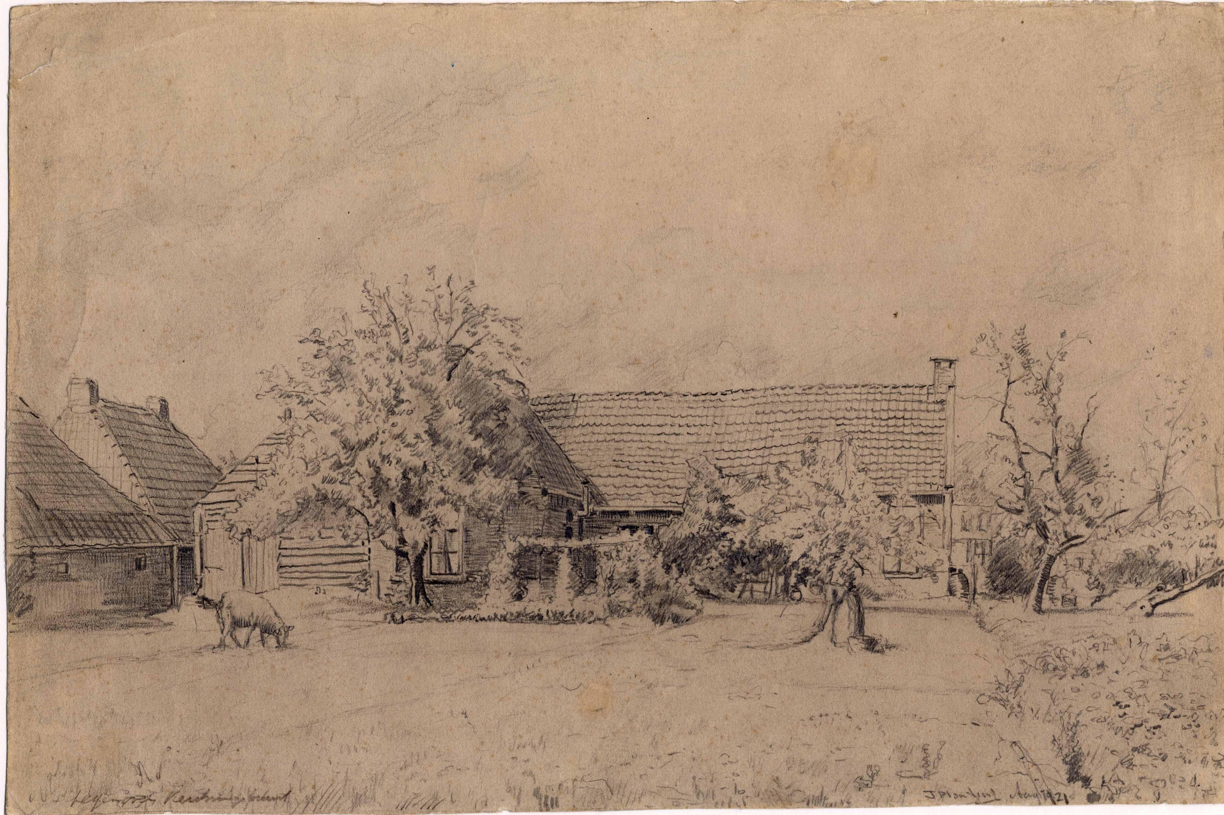 Tekening van een boerderijtje aan de Houtlaan te Drachten