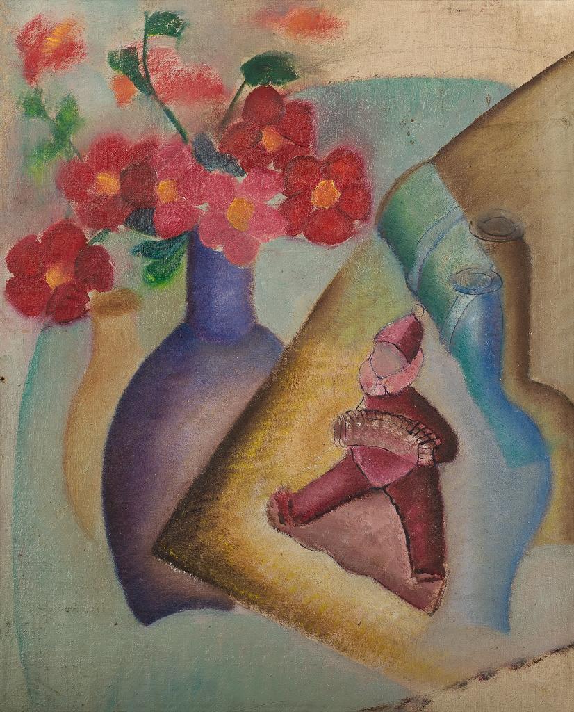 Stilleven met bloemen in vaas en harmonicaspeler