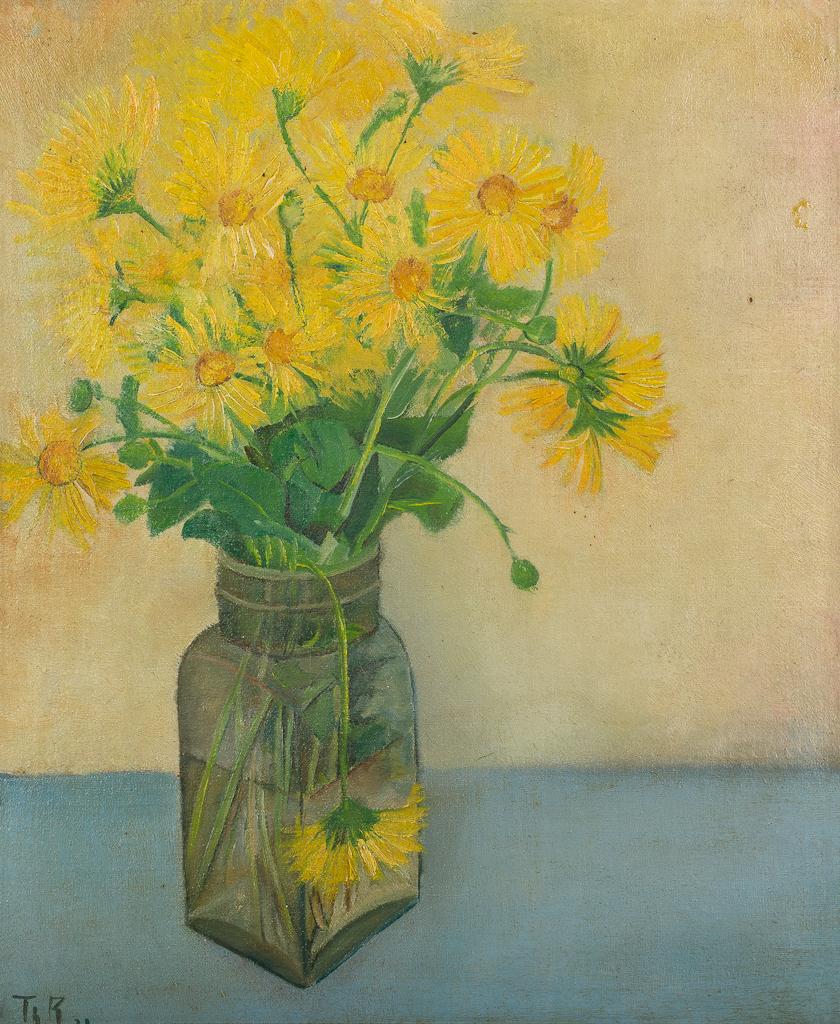 Stilleven met gele bloemen en pot