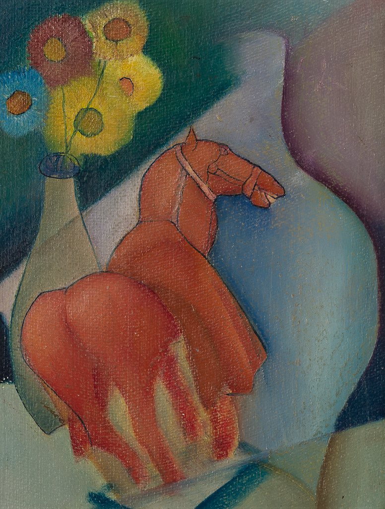 stilleven met bloemen in vaas en een rood paardje