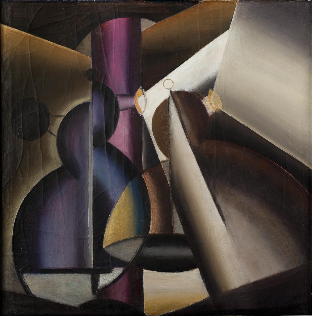 Compositie met violetkleurige zuil