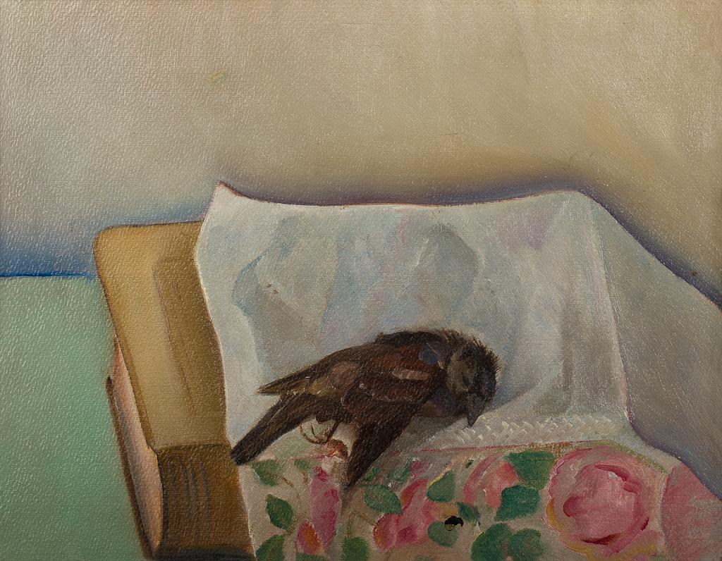 Stilleven met dood vogeltje en boek