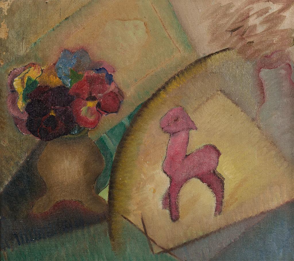 Stilleven met boek, vaas met viooltjes en roze lammetje