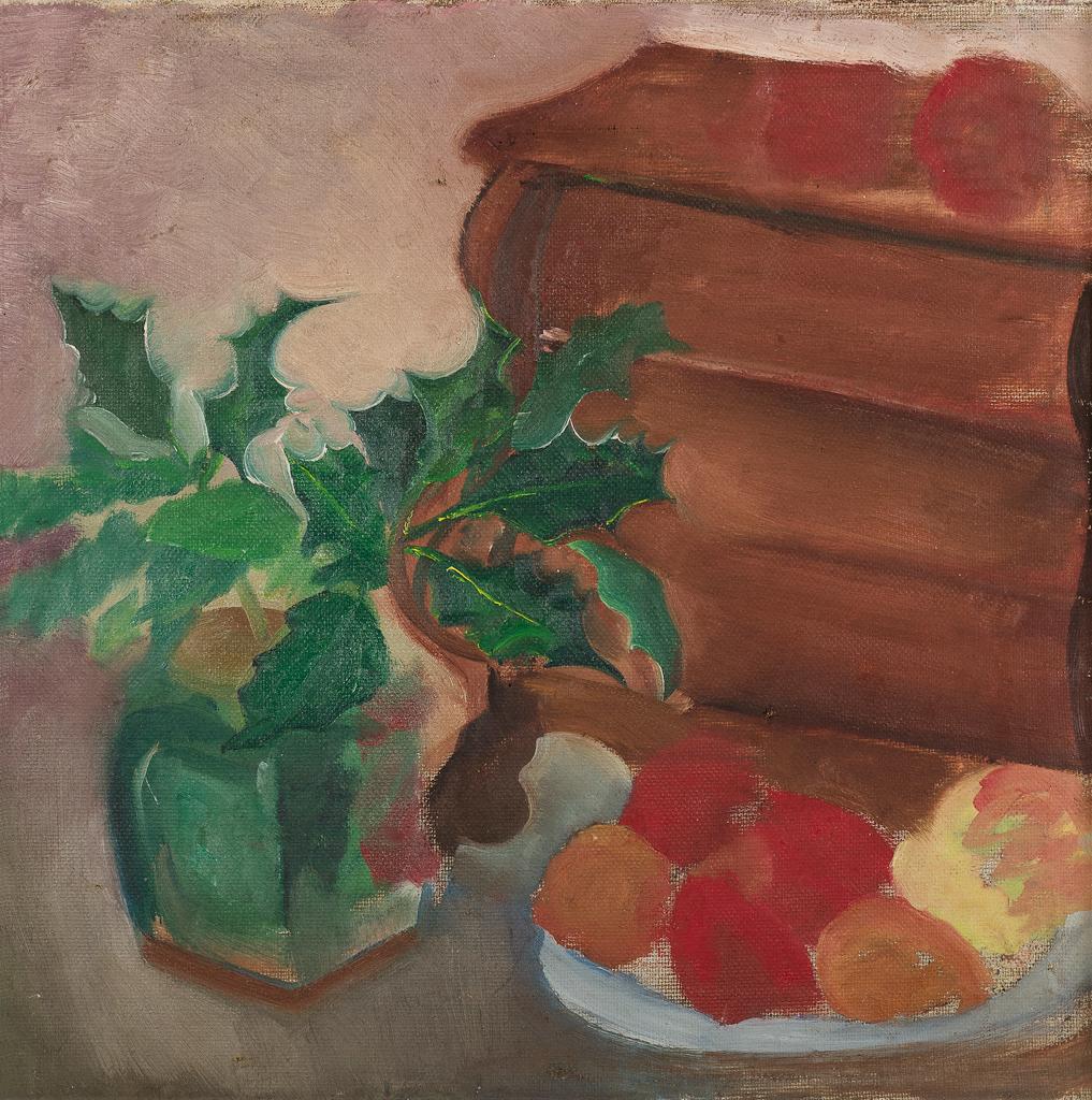 Stilleven met boeken, gemberpotje, hulst en schaal met fruit
