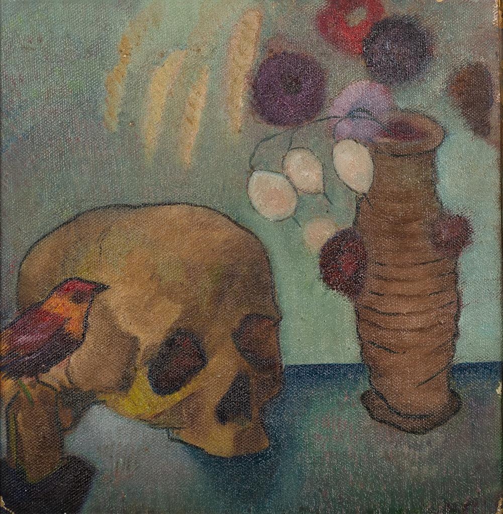 Stilleven met vogeltje, schedel en vaas met bloemen