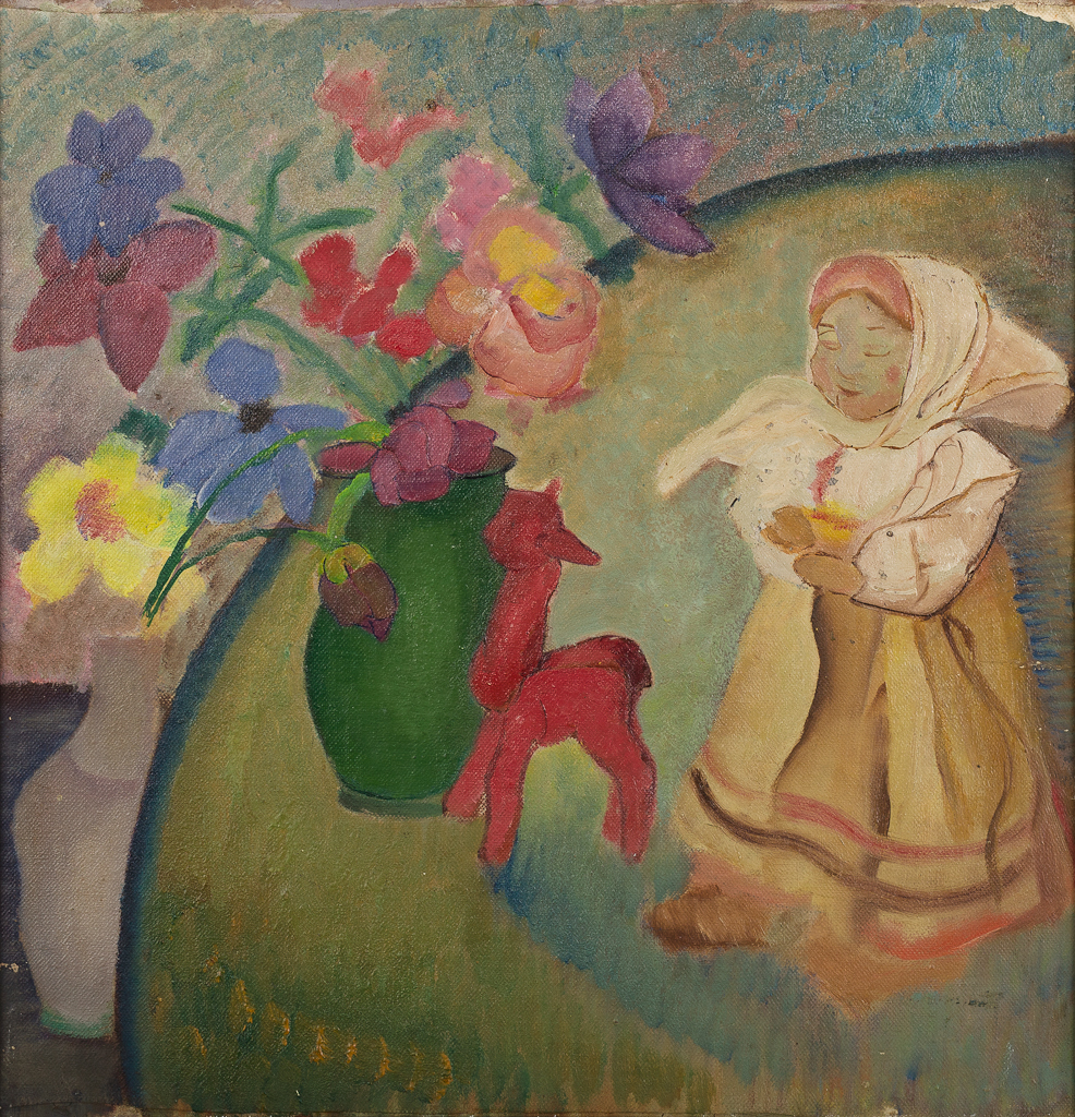 Stilleven met bloemen in vaas, popje en rood paardje