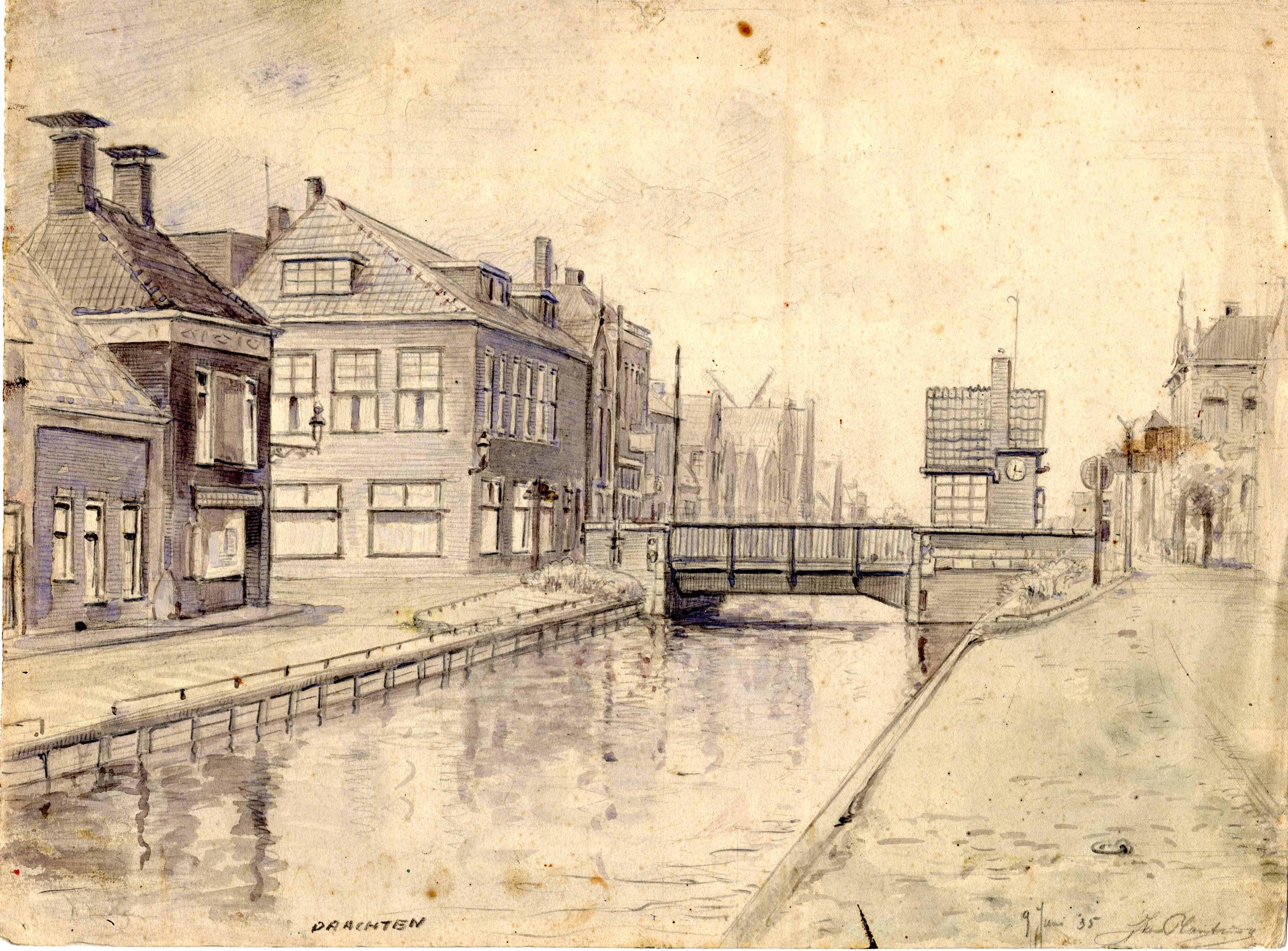 Tekening van de Kaden met zicht op de Hoofdbrug