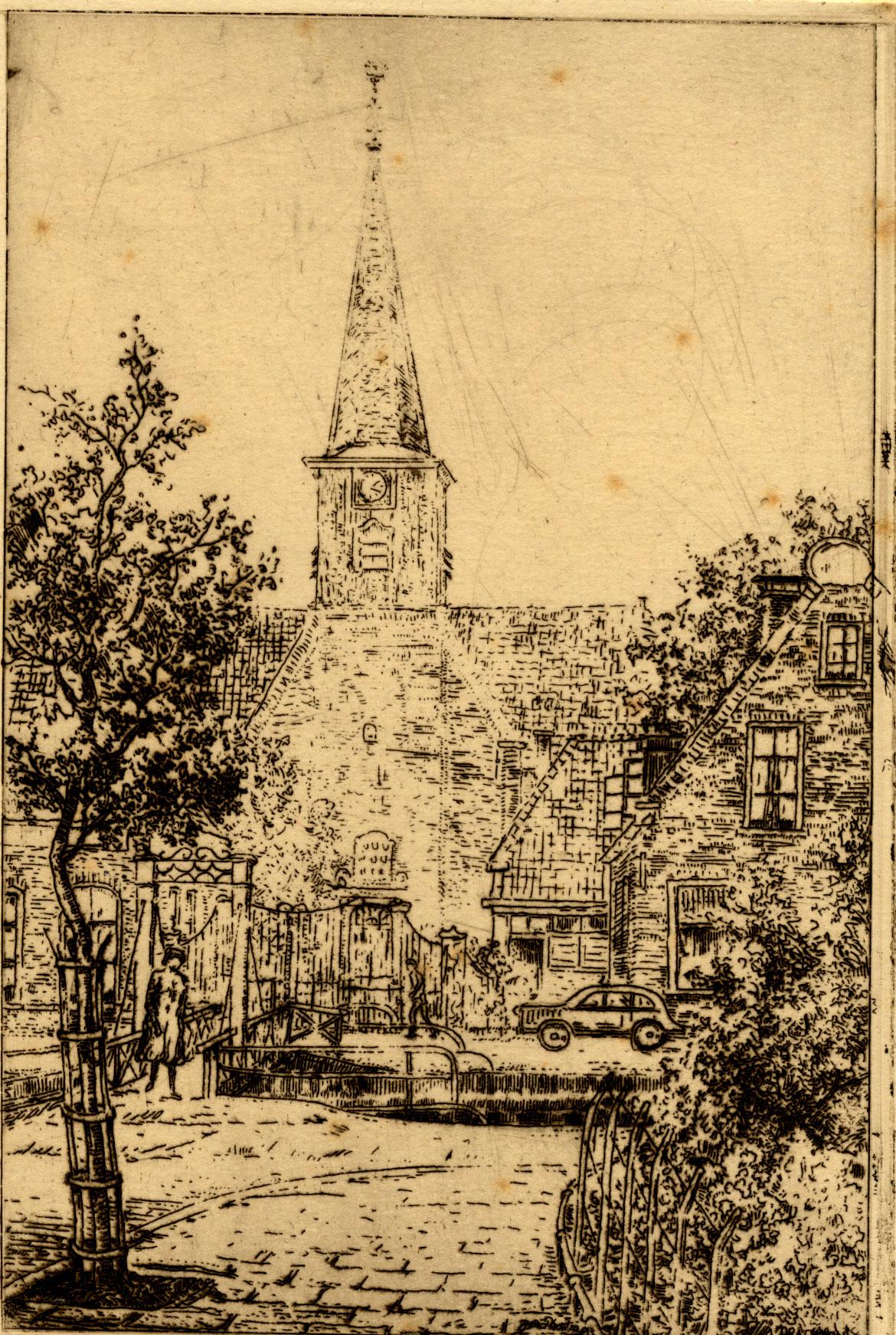 Ets van de Nederlands Hervormde kerk aan de Zuidkade, gezien vanaf de Noordkade.