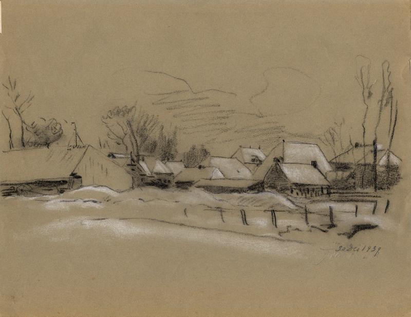 """Tekening met gezicht op de molen """"De Hoop"""" van dhr Weiss aan het Oosteinde te Drachten"""