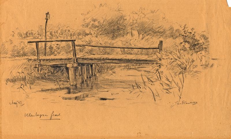 Tekening van een bruggetje over de Olterterpervaart