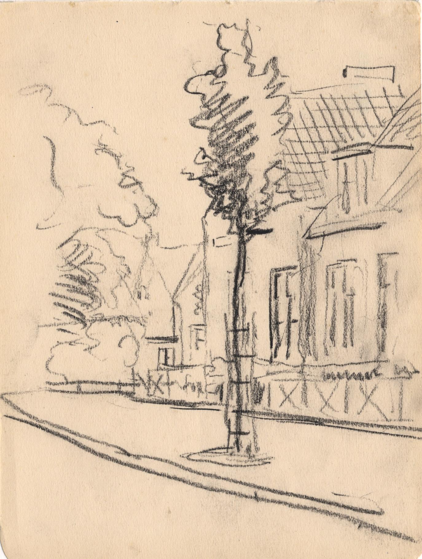 Tekening met kruising van de Oosterstraat en Torenstraat te Drachten