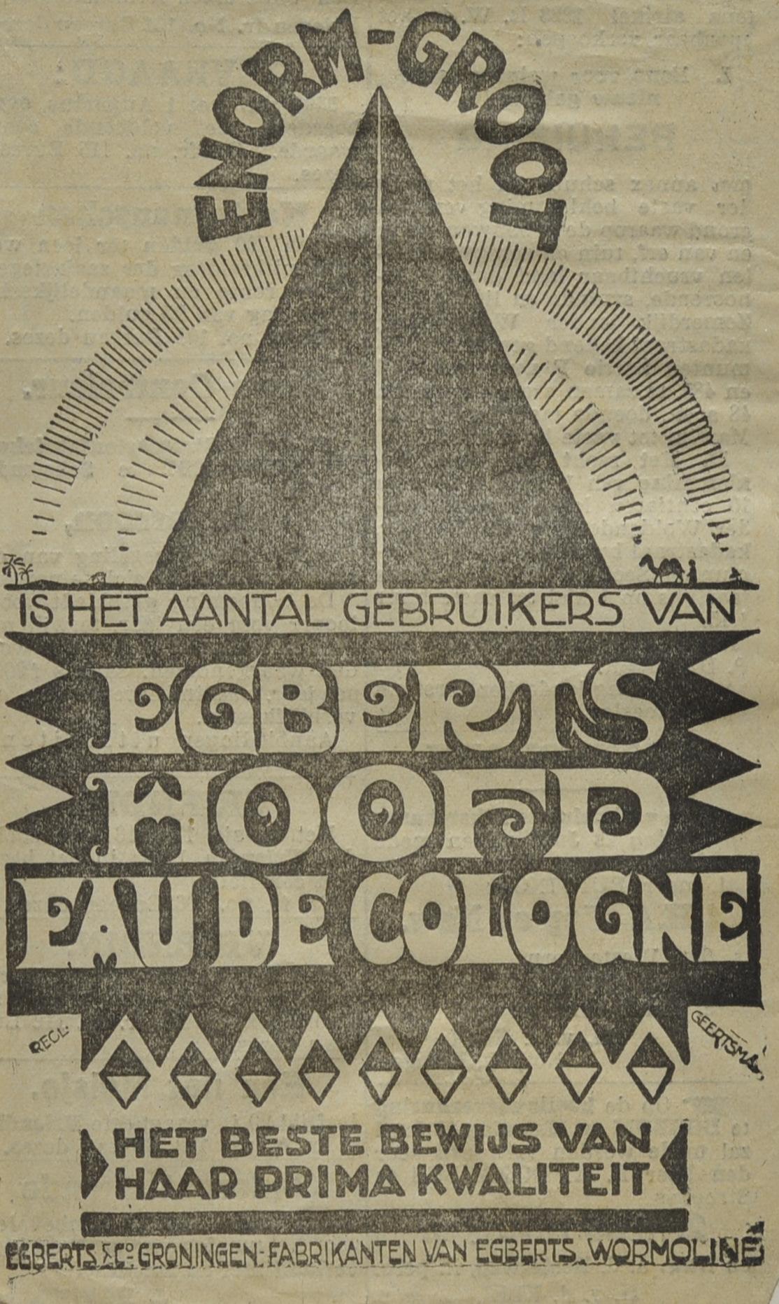 Egberts Hoofd Eau de Cologne, 1918-1940