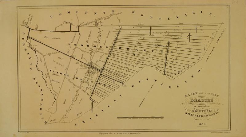 Kaart van Dragten en omstreken uit 1840