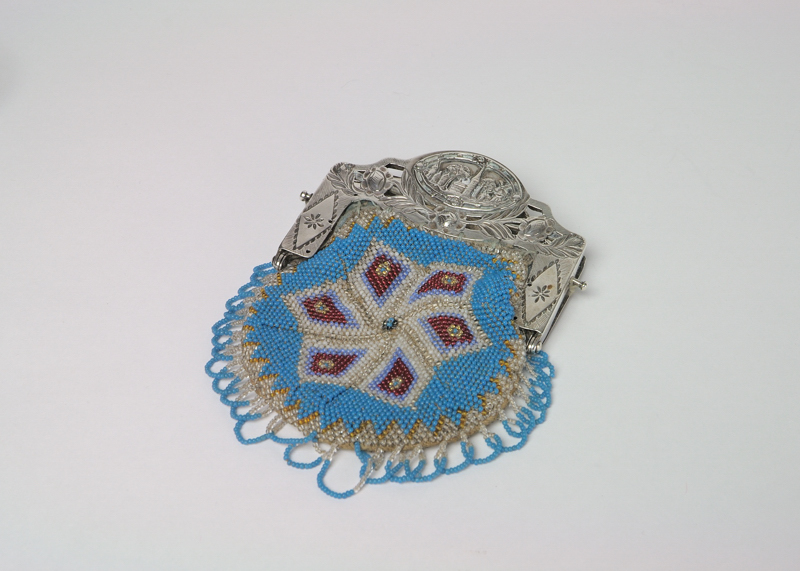 Stoffen beugelbeurs met zilveren slot
