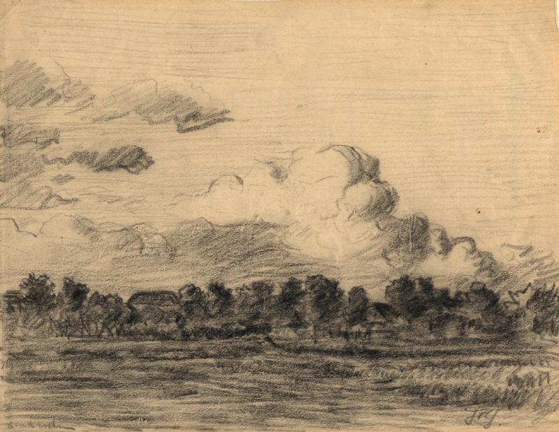 Tekening van landschap met avondwolken
