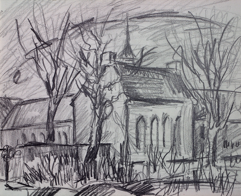 Tekening van het Carmelitessenklooster aan de Burgemeester Wuiteweg te Drachten