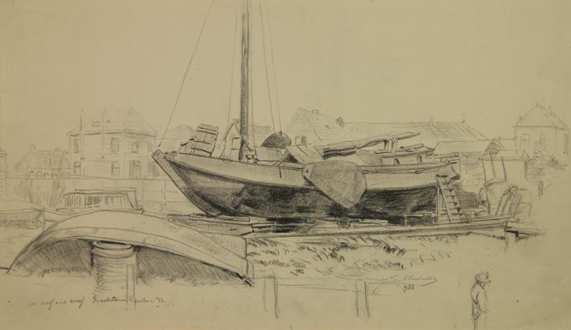 Tekening van de scheepswerf, van Van der Werff aan de Langewijk te Drachten