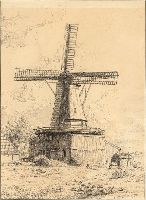Tekening van de roggemolen aan het Oosteinde