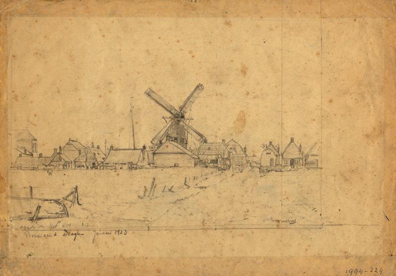"""Tekening van de molen """"De Hoop"""" van dhr Weiss aan het Oosteinde te Drachten"""