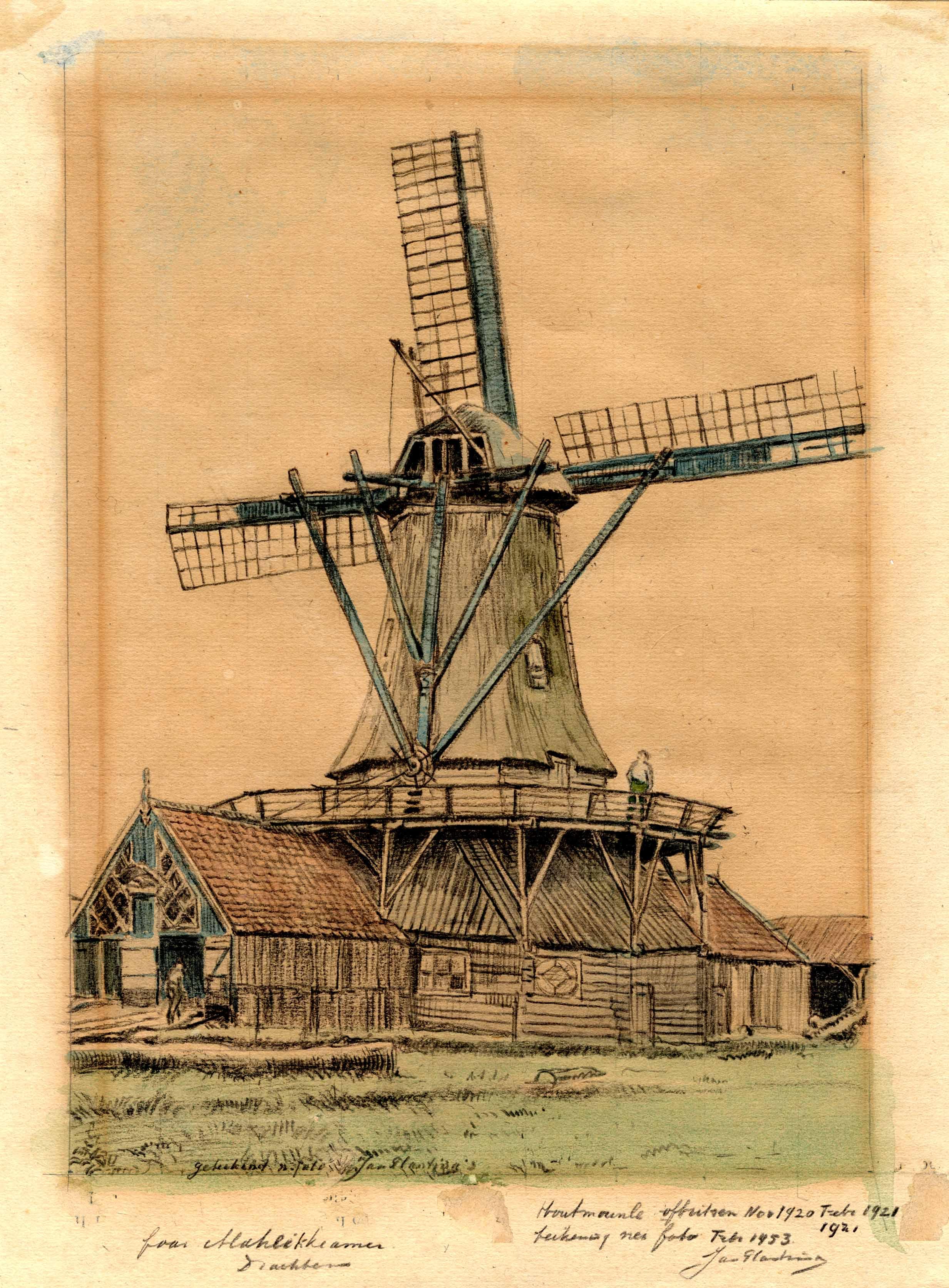 Tekening van de houtzaag molen van Bolleman