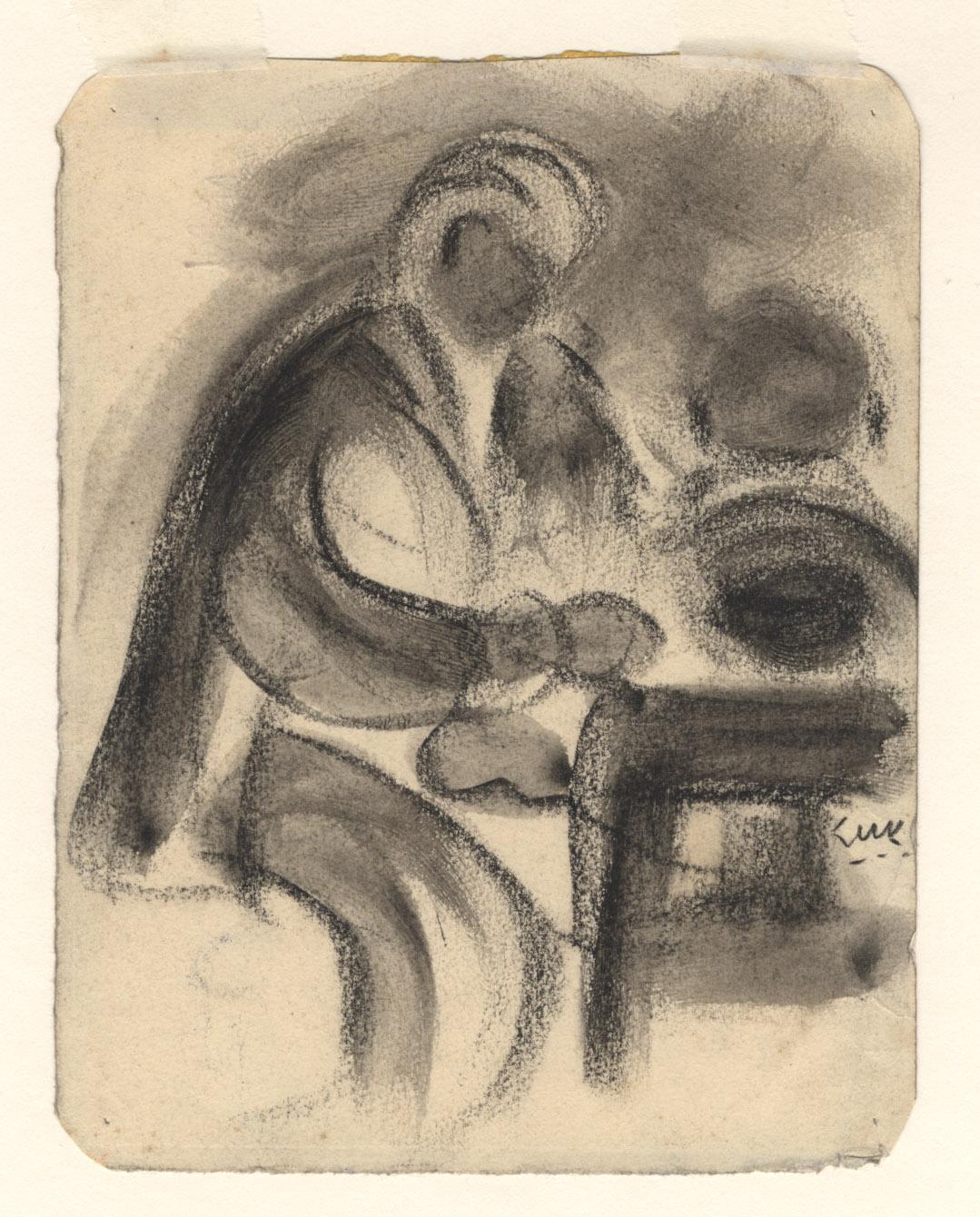 Het portret van twee mensen die aan tafel zitten