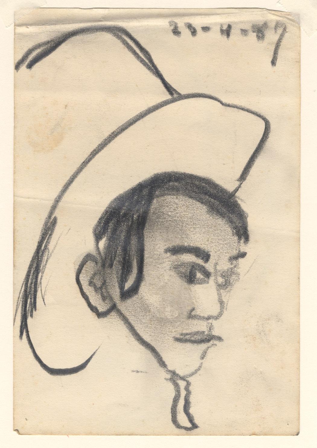 Man met snor en hoed