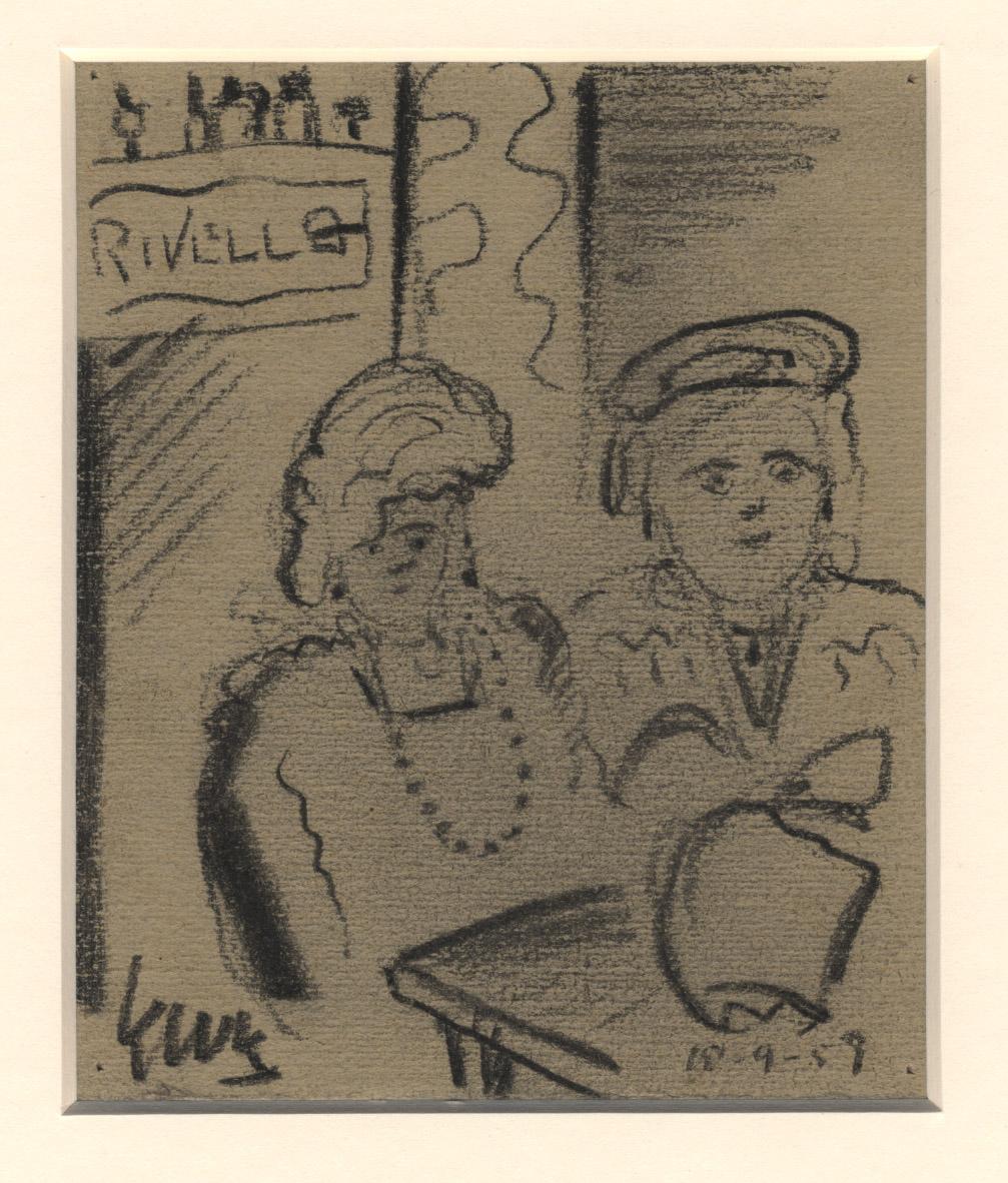 Twee mensen aan een tafeltje met een boodschappentas
