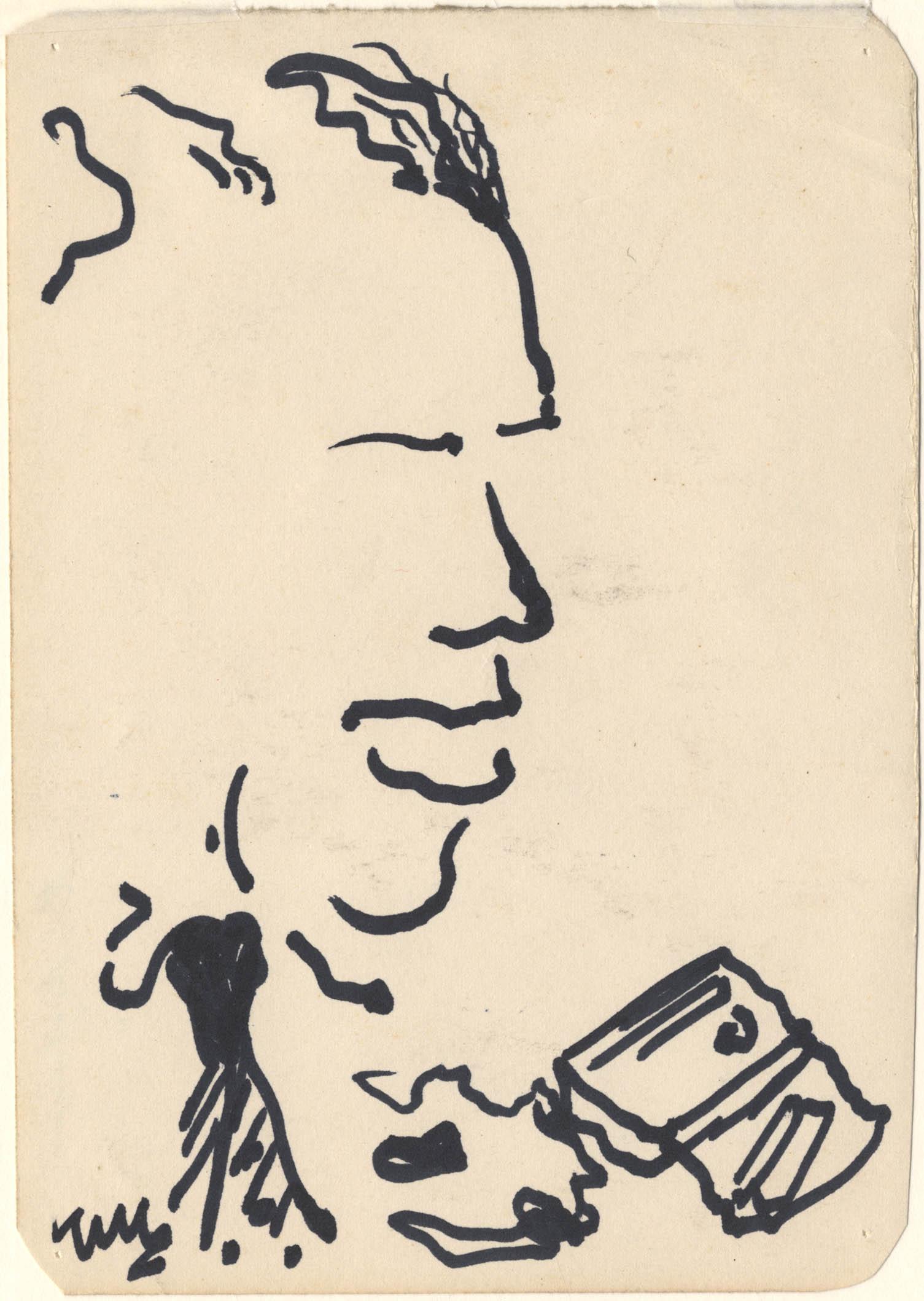 Het portret van een man, voor hem ligt een pakje shag met vloei