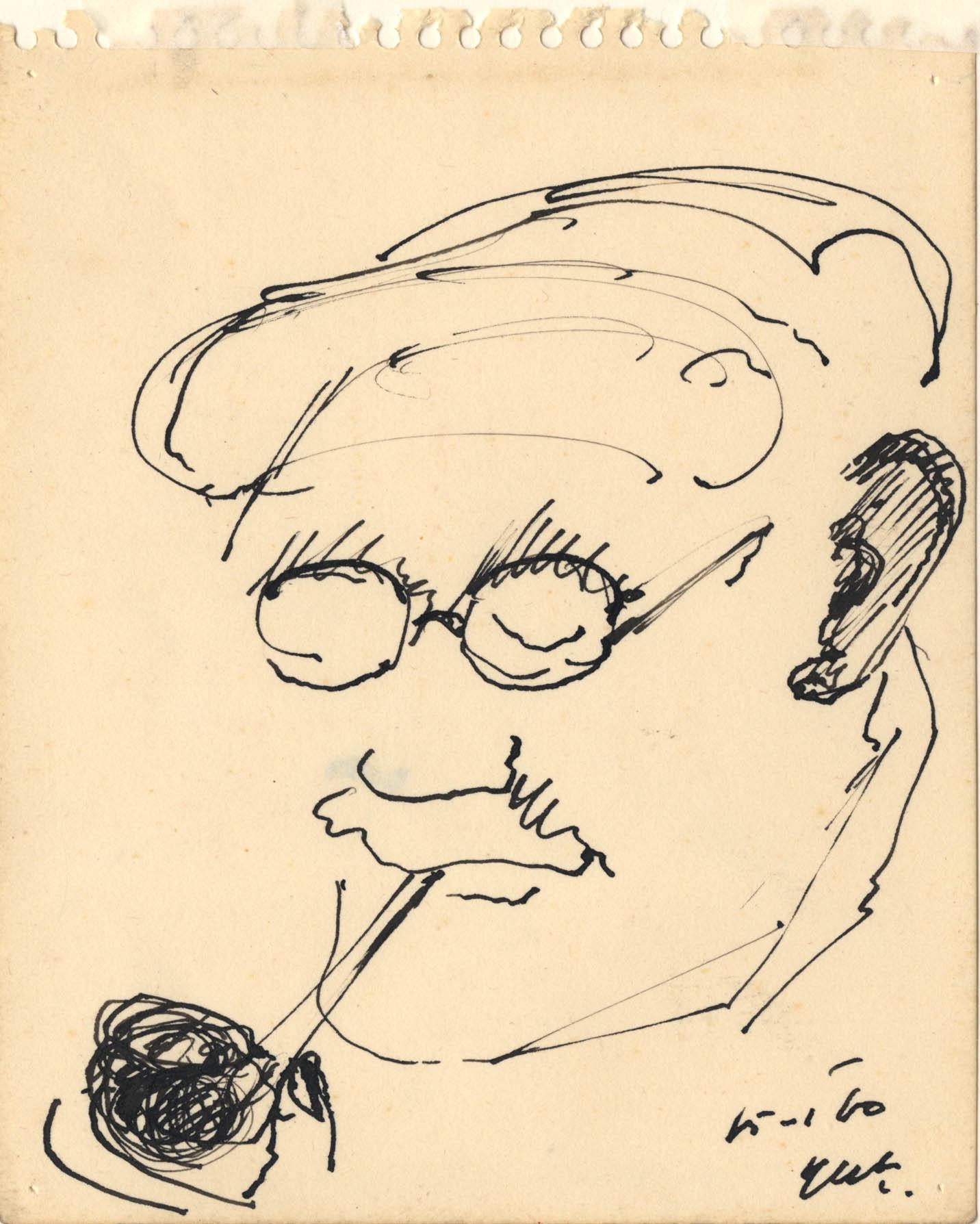 Het portret van een man, hij draagt een pet en een bril