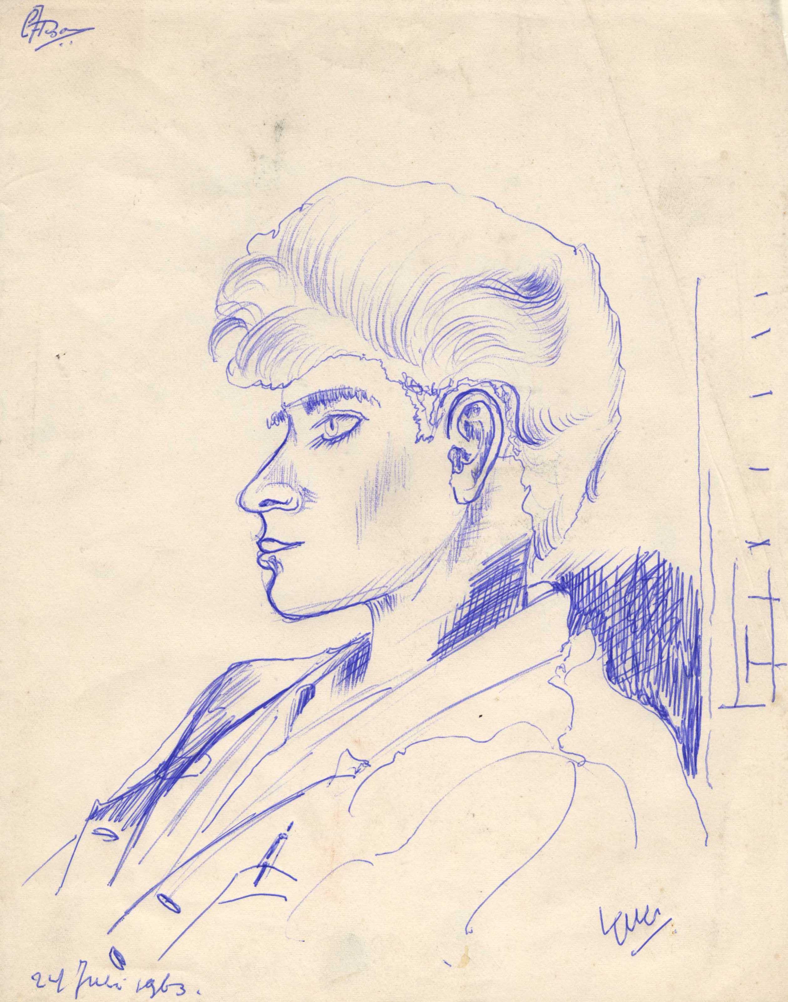 Jonge man, en profil