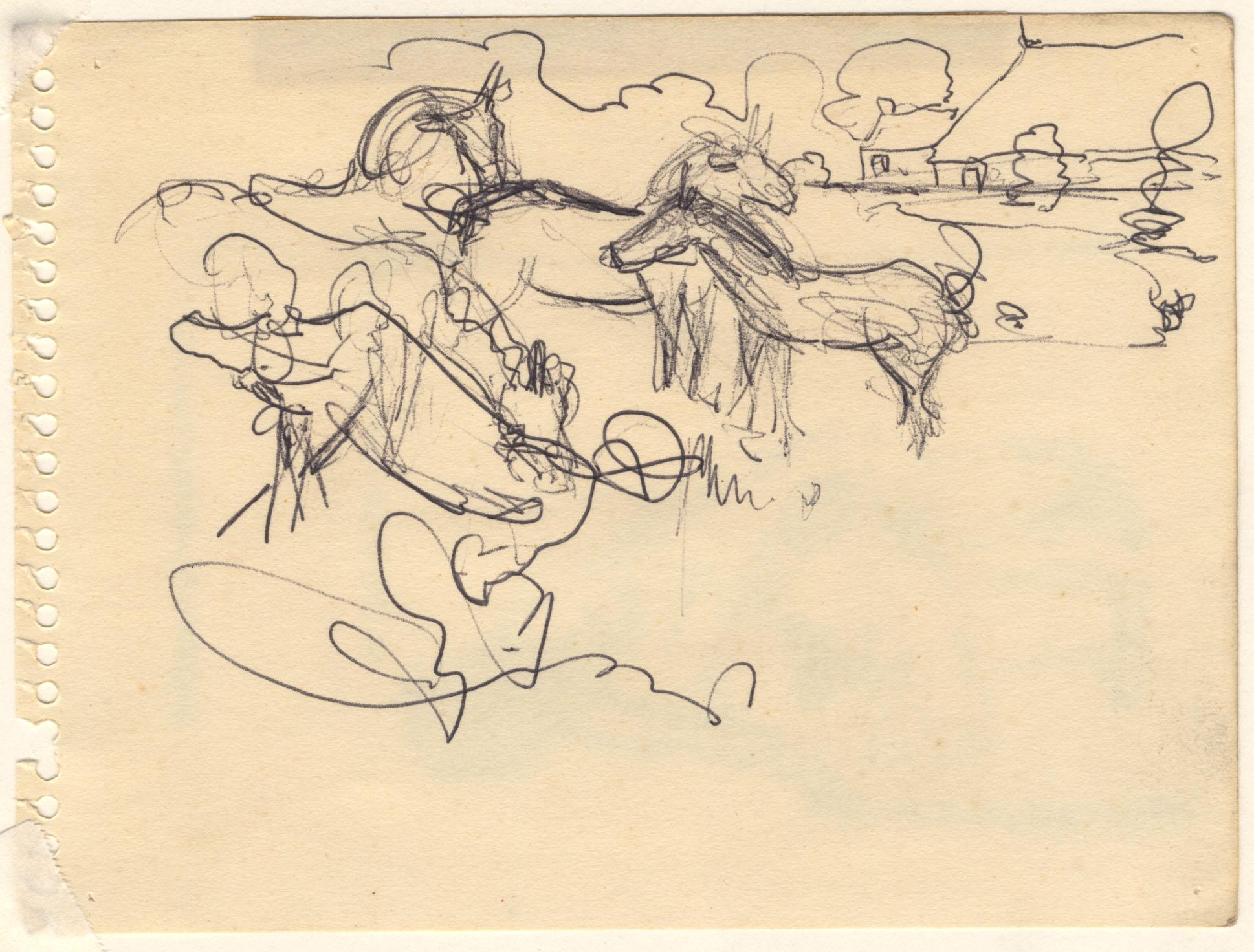 Een landschap met paarden