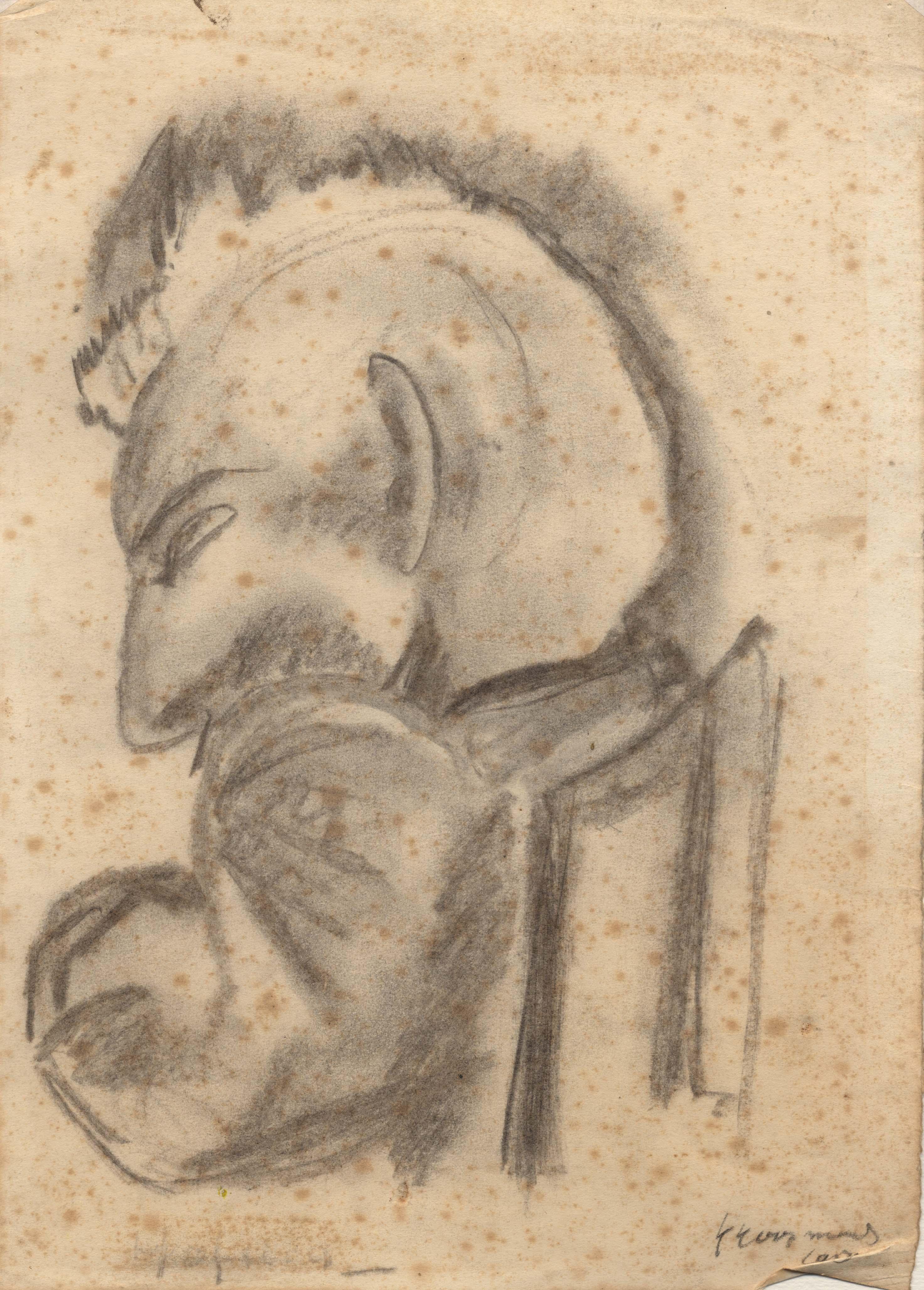 Het portret van een patiënt, met een groot oog