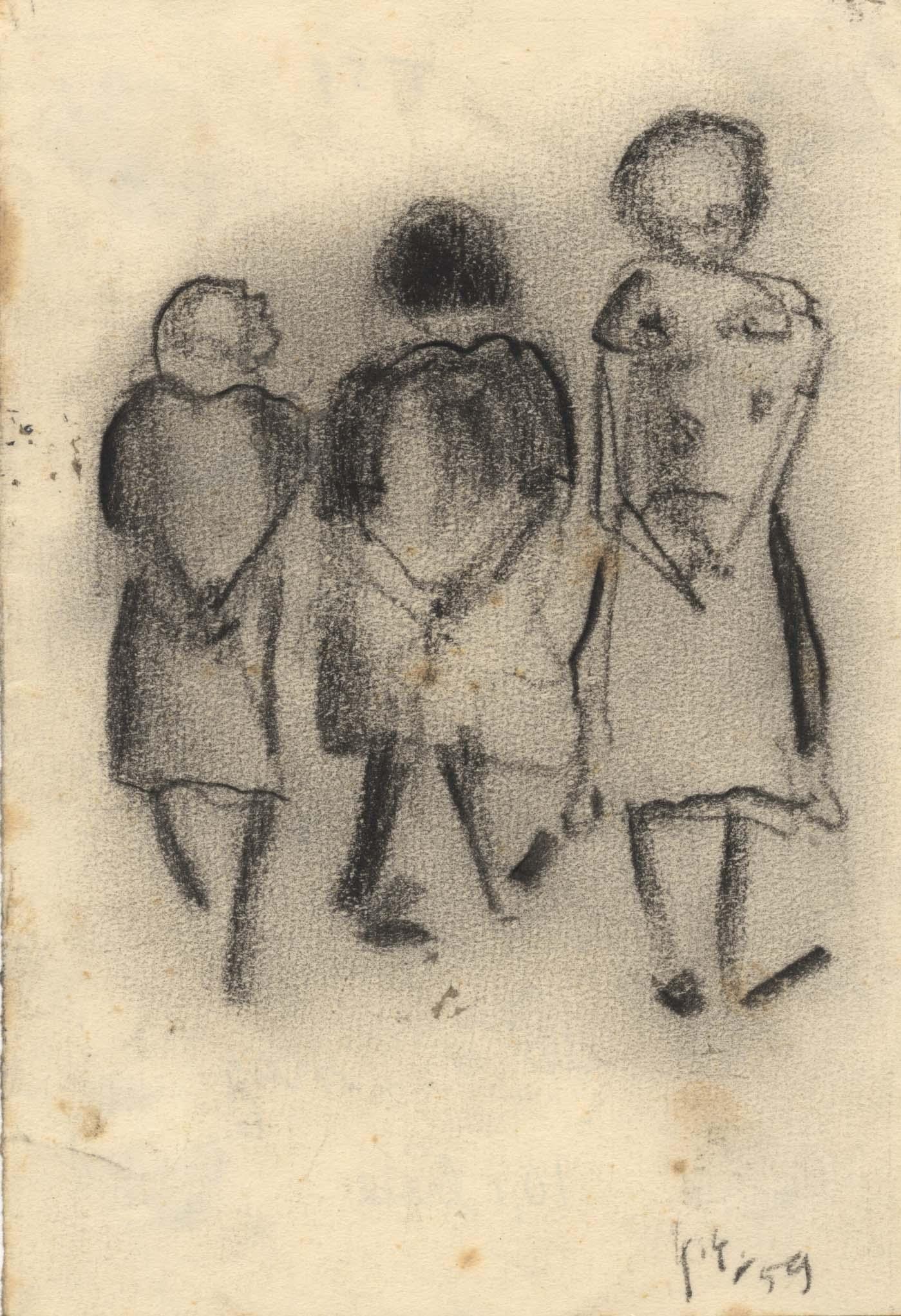 Drie vrouwen die in het park wandelen